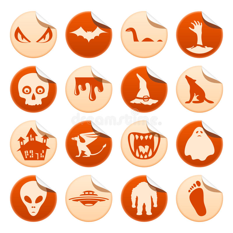 Mystical and horror stickers stock illustration