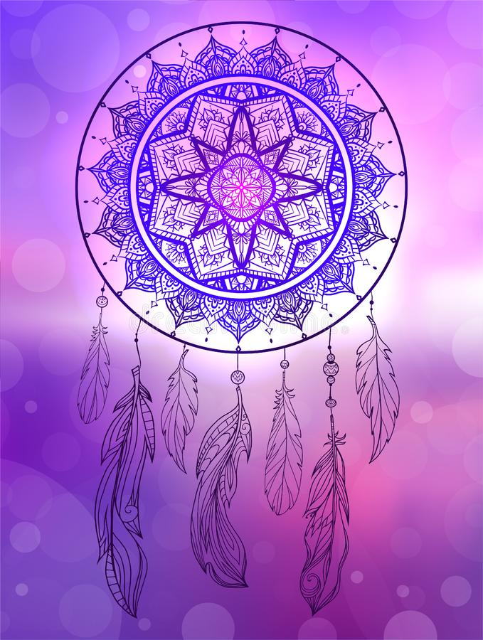 Mystical illustration of a dreamcatcher with a boho tracery pattern, feathers with beads on blurred sunrise seascape royalty free illustration