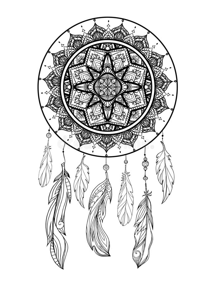 Mystical illustration of a dreamcatcher with a boho tracery pattern, feathers with beads on a white background. Vector magic stock illustration