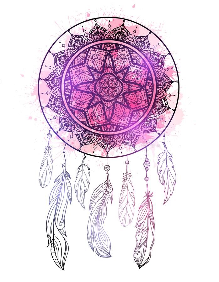 Mystical illustration of a dreamcatcher with a boho tracery pattern, feathers with purple watercolor splashes on white background royalty free illustration