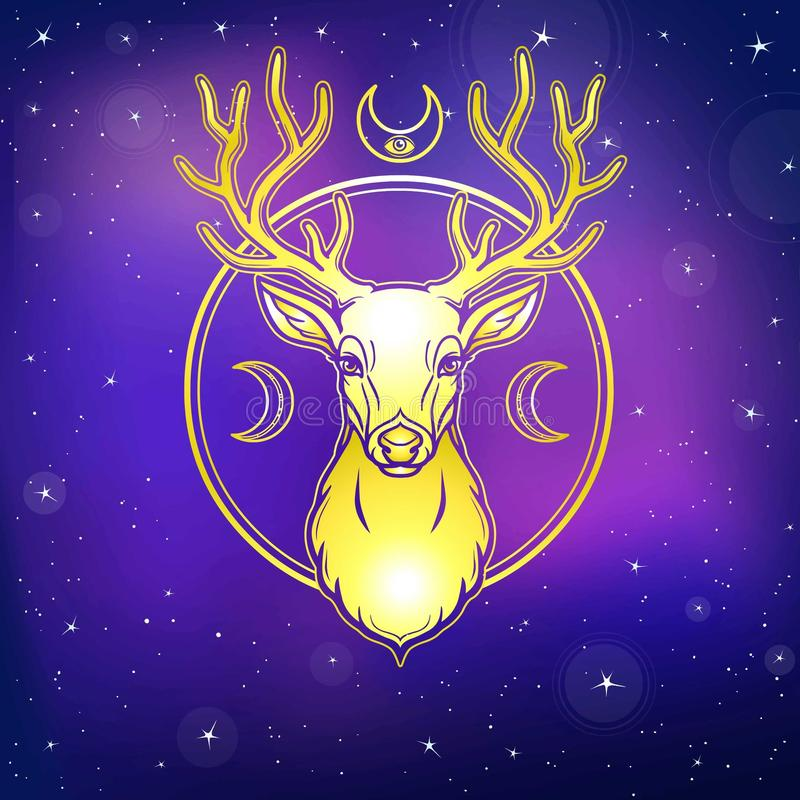 Mystical image of a deer. Symbols of the moon. Gold imitation. Background - the night star sky. stock illustration