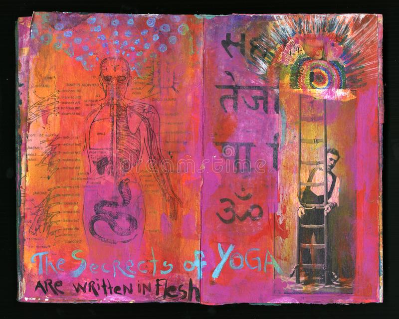 Secrets Of Yoga Artist`s Crazy Wisdom Handmade Collage Art Journal royalty free stock photo