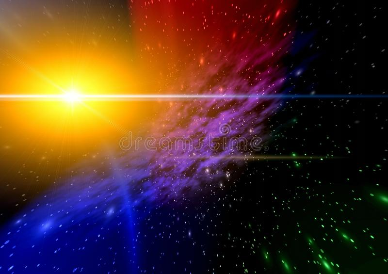 Mystical light in space. stock illustration