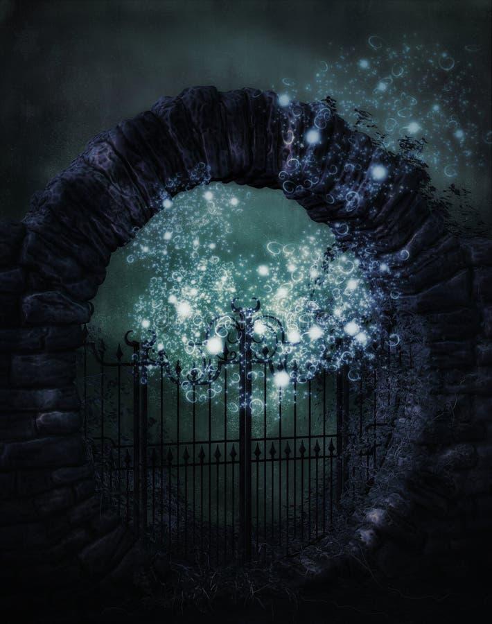 Mystical moon gate. At night vector illustration