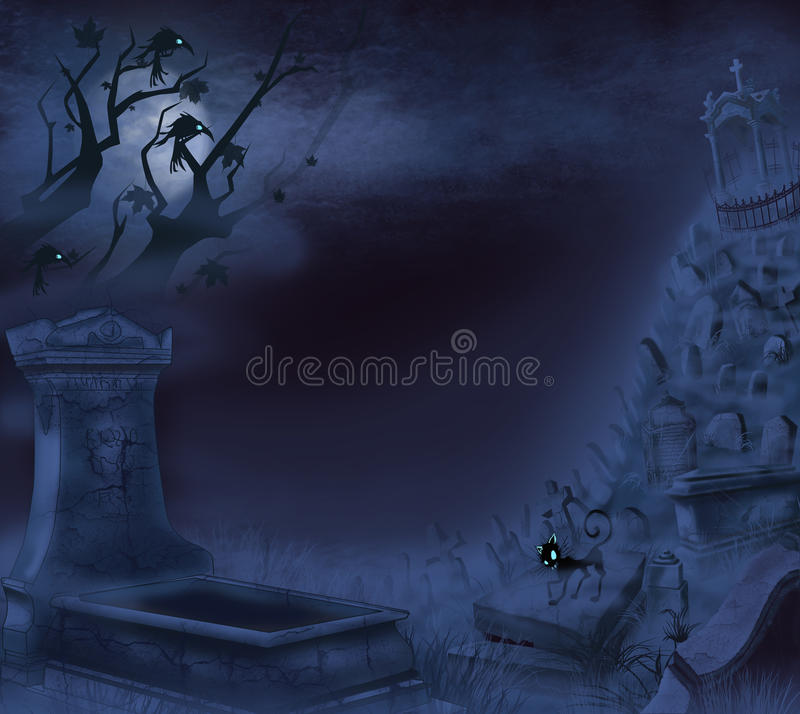 Mystical night cemetery vector illustration