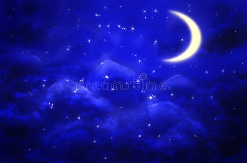 Mystical Night sky background with half moon, clouds and stars. Moonlight . stock illustration