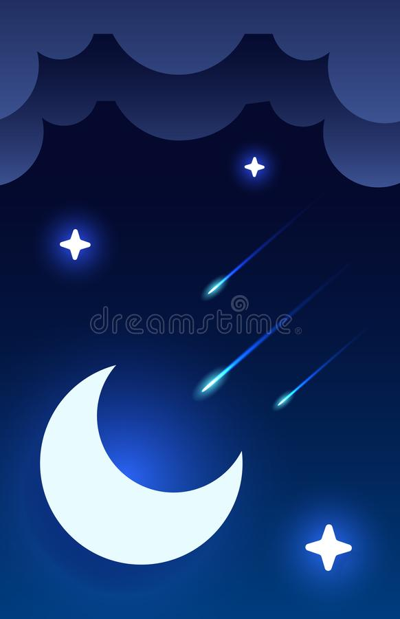 Mystical Night sky background with half moon, clouds and stars. Moonlight night. Vector vector illustration