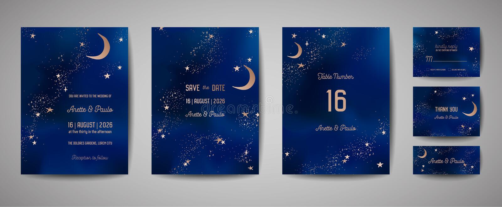 Mystical Night sky background with half moon and stars. Wedding moonlight night Invitation and Save the Date Card royalty free illustration