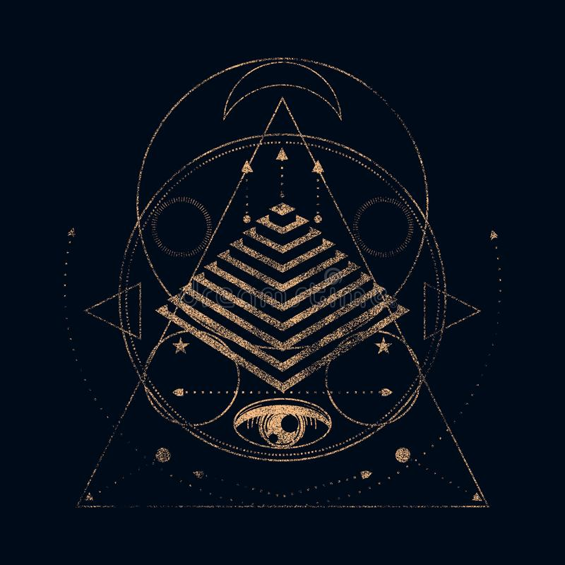 Mystical occult symbol. Mystical geometry symbol. Linear alchemy, occult, philosophical sign. For music album cover, poster, sacramental design. Astrology and stock images
