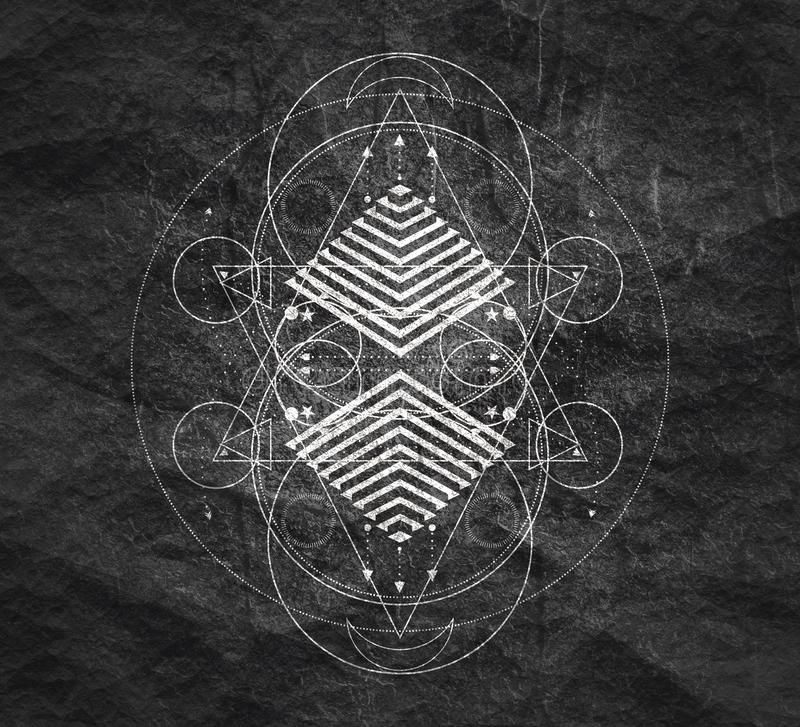 Mystical occult symbol. Mystical geometry symbol. Linear alchemy, occult, philosophical sign. For music album cover, poster, sacramental design. Astrology and stock image