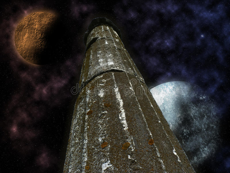 Mystical pillar with stars and planets royalty free stock photo