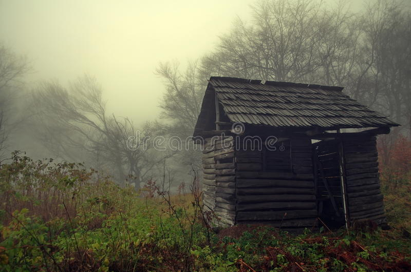 Autumn background. Mystical refuge abandoned in the forest. Autumn landscape. Autumn background in the forest. Mystical refuge abandoned in a haunted place of royalty free stock photos