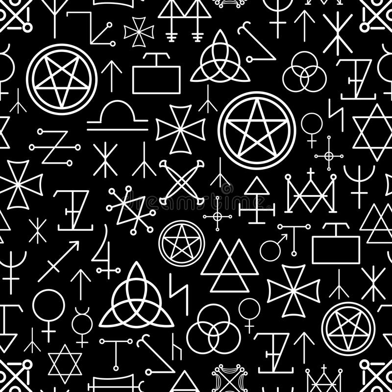 Mystical seamless pattern on black background. White line, spirituality and pentagram, occultism philosophy. Vector illustration royalty free illustration