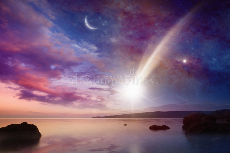 Mystical sign in sky - falling comets with long tails stock image