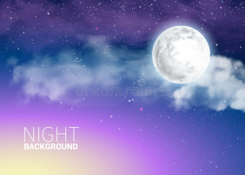 Mystical Sky Full Moon Against the background of the galaxy stock illustration