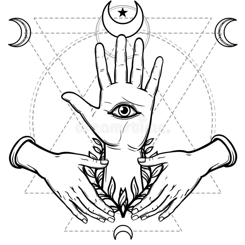 Mystical symbol: human hand, Eye of Providence, sacred geometry. Esoteric, religion, occultism. Vector illustration isolated on a white background. Print vector illustration