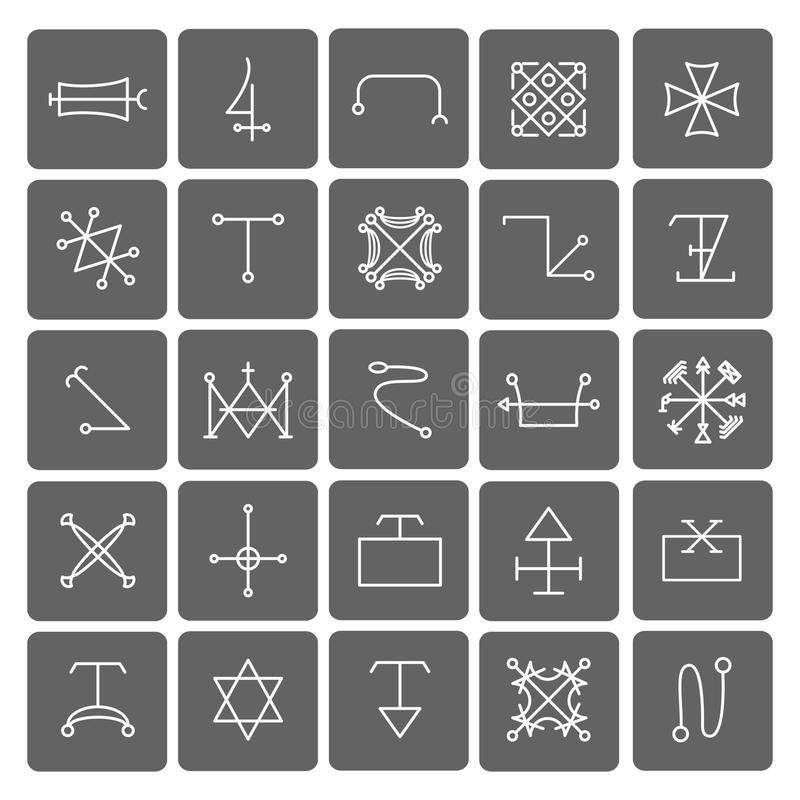 Mystical Symbols And Sacred Signs Icons Stock Vector Illustration