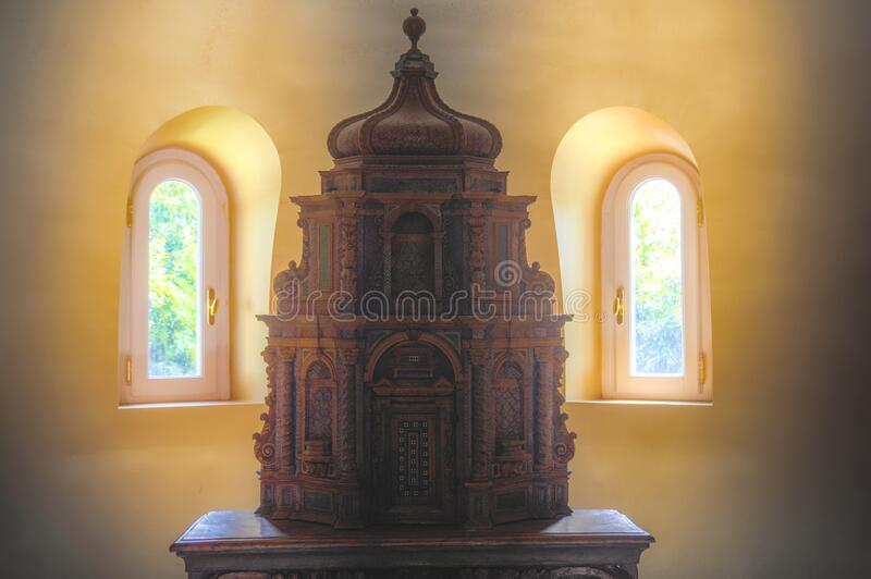 Mystical temple model plastic in backlight in the Masone Labyritnth Museum in Fontanellato, Parma , Italy stock image