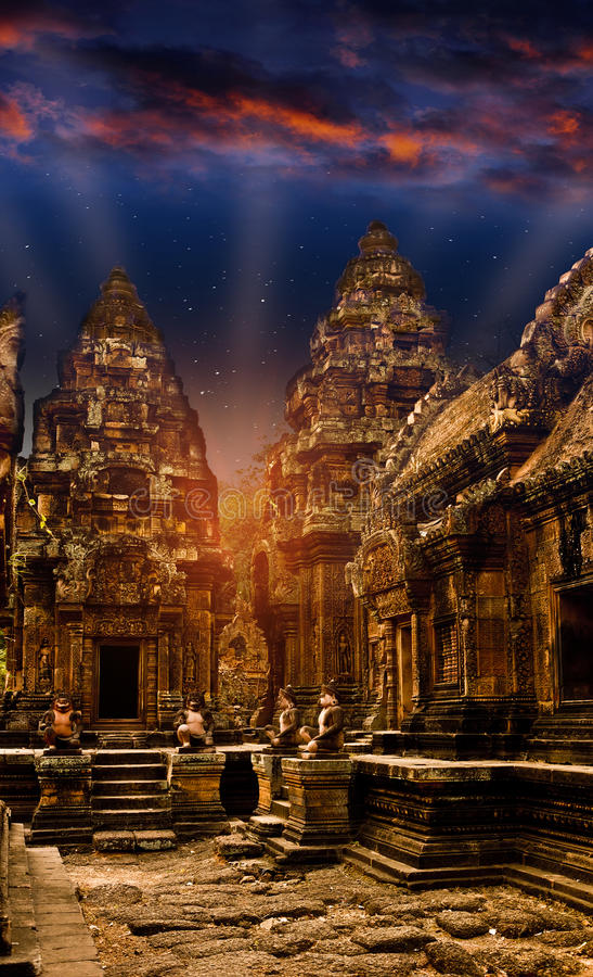 Mystical temples of Cambodia at night, before sunrise royalty free stock image