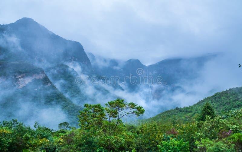 Mystical waft of mist around Gocta waterfall. The Gocta waterfall, Amazonas region in Peru stock photos