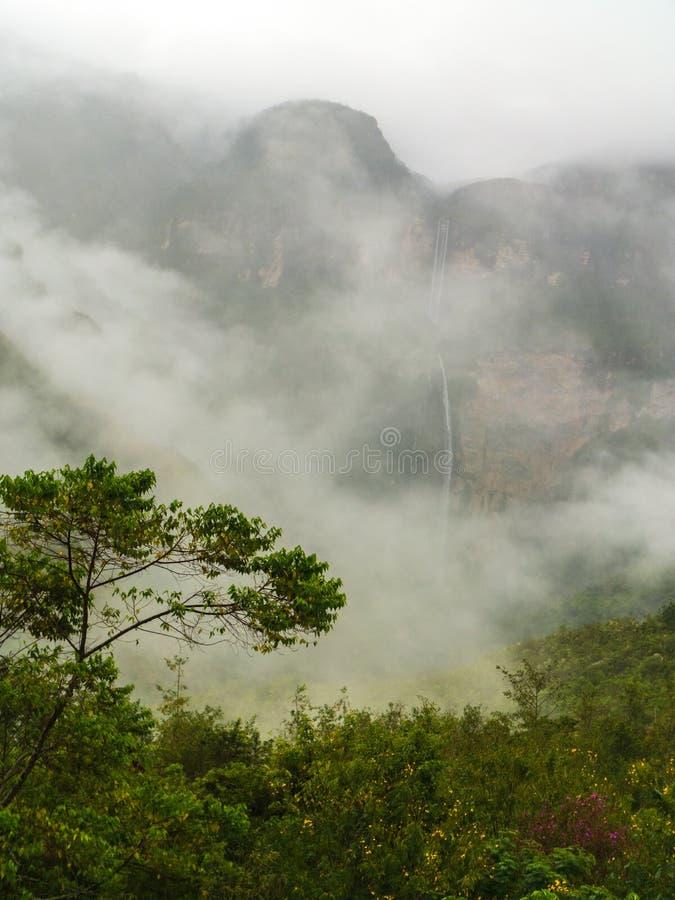 Mystical waft of mist around Gocta waterfall. The Gocta waterfall, Amazonas region in Peru stock images