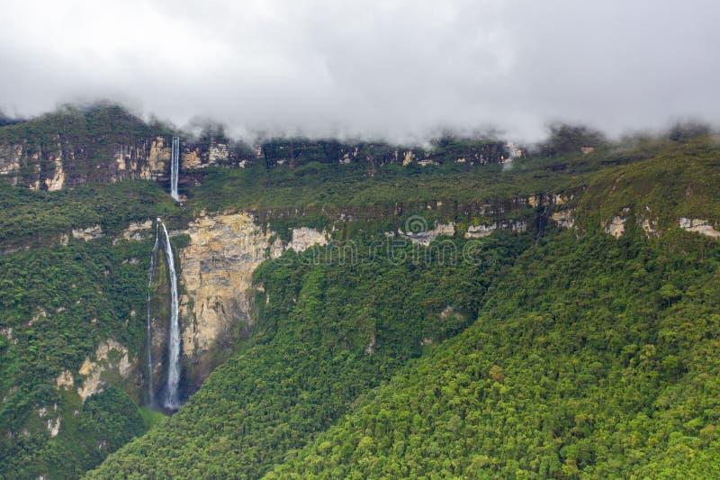 Mystical waft of mist around Gocta waterfall. The Gocta waterfall, Amazonas region in Peru stock photo