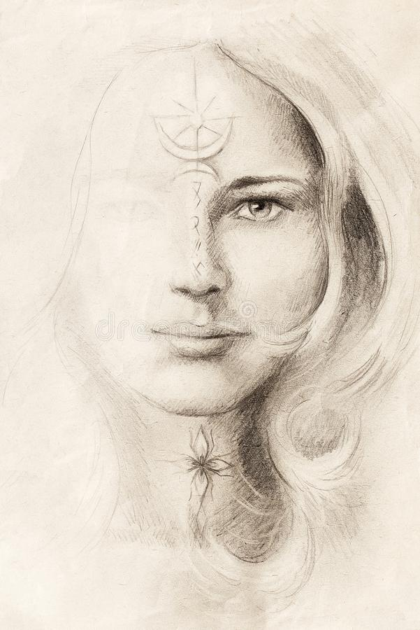 Free Mystical Woman Portrait Drawing With Symbols, Emerging From Light. Royalty Free Stock Photo - 140293345
