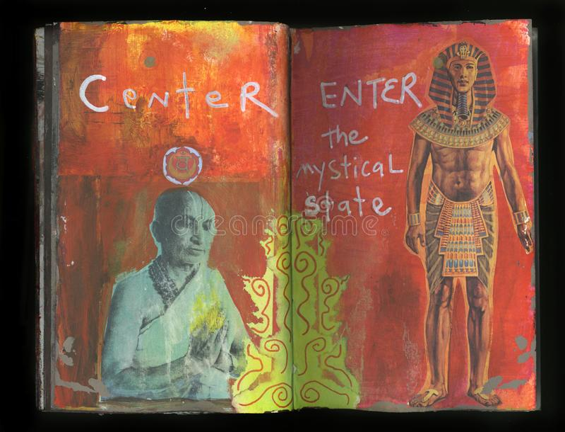 Mystical Yoga Artist`s Crazy Wisdom Handmade Collage Art Journal royalty free stock images