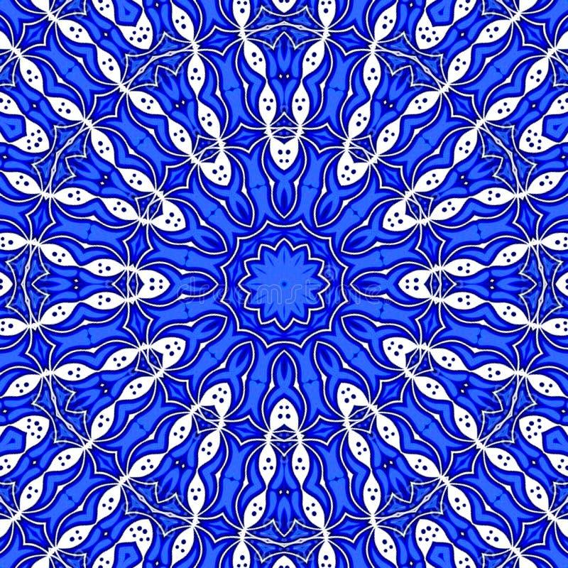 Mysticus blauwe en witte fractal mandalastijl royalty-vrije illustratie