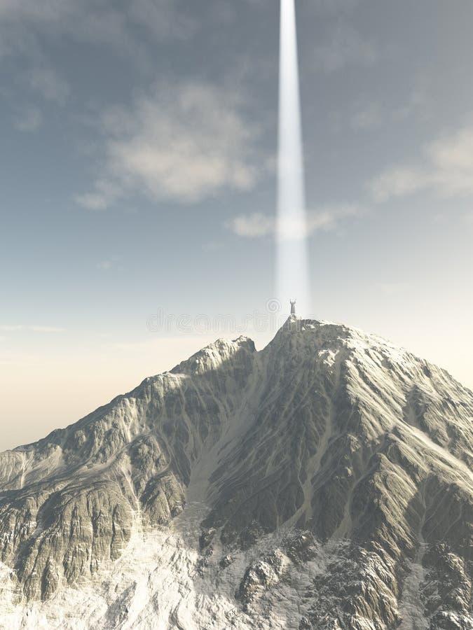 Mysticus die vanaf de Bergbovenkant stijgen stock illustratie