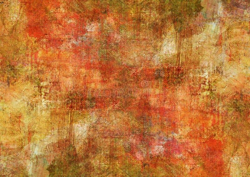 Mysticus het Rode Canvas Abstracte Schilderen Gele Bruine Donkere Grunge Rusty Distorted Decay Old Texture voor Autumn Background stock foto