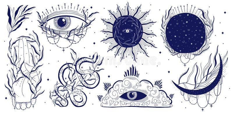 Mysticus vastgestelde illustratie, esoterisch teken, het magische leven Uitstekende oude stijl, grafische lijn Ge?soleerd op witt royalty-vrije illustratie