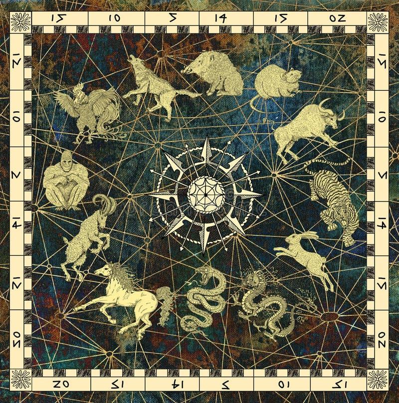Mysticusachtergrond met grafiek van dierenriemdieren in kader met kompas stock illustratie