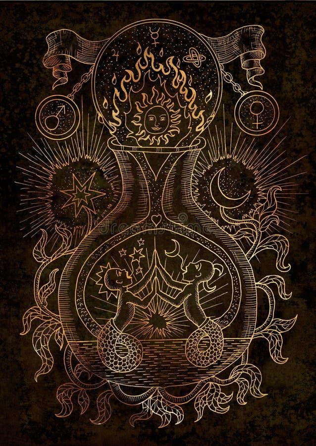 Mysticusillustratie met geestelijke en alchemistische symbolen, het concept van Tweeling van het dierenriemteken met maan, zon en royalty-vrije illustratie