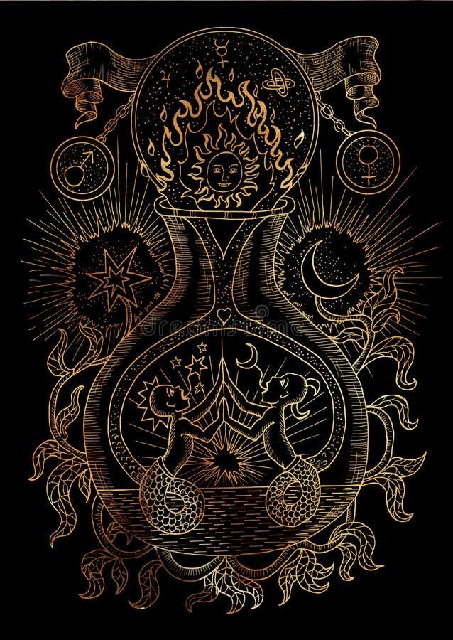 Mysticusillustratie met geestelijke en alchemistische symbolen, het concept van Tweeling van het dierenriemteken met maan, zon en stock illustratie