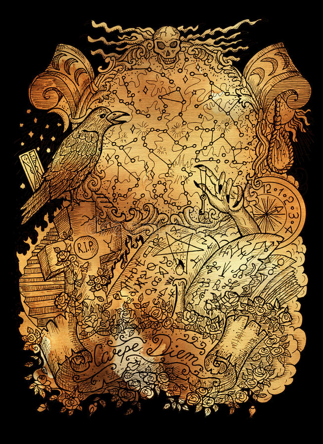 Mysticusillustratie met magisch boek, kraai, dierenriemconstellaties, dwars en geestelijke symbolen royalty-vrije illustratie