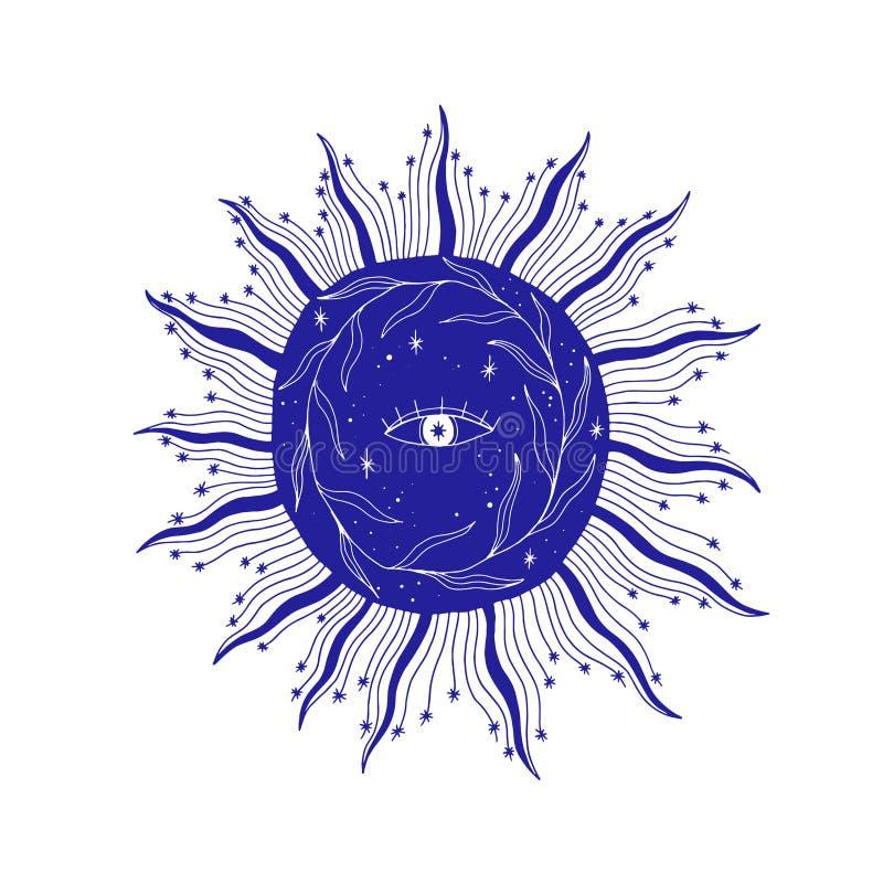 Mysticusoog in de zonillustratie, esoterisch teken, het magische leven Uitstekende oude stijl, grafische lijn Ge?soleerd op witte vector illustratie
