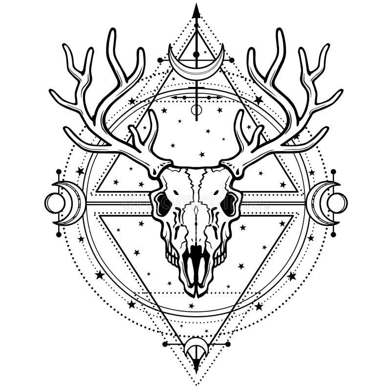 Mystiek beeld van de schedel een gehoornd hert, heilige meetkunde, symbolen van de maan stock illustratie