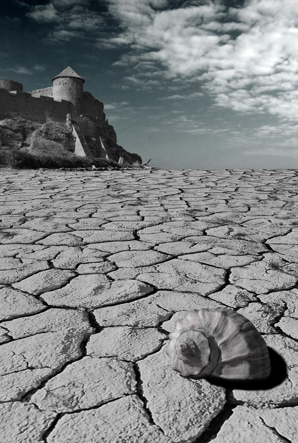Mystiek landschap met fee-verhaal kasteel vector illustratie