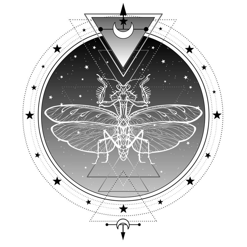 Mystiek symbool: illusive silhouet van een bidsprinkhaan Heilige Meetkunde stock illustratie