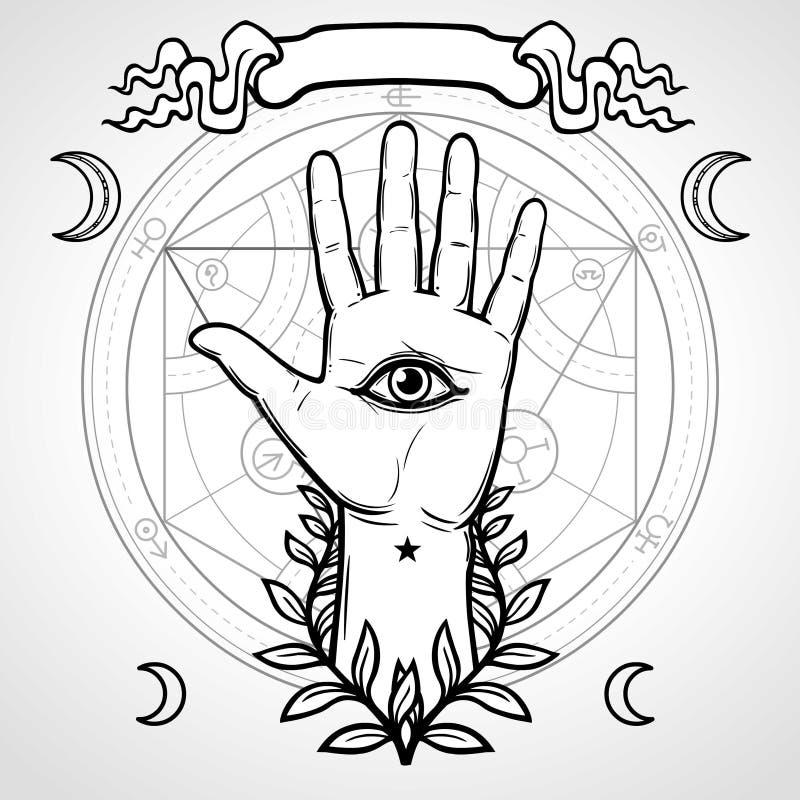 Mystiek symbool: menselijke hand, Oog van Voorzienigheid, heilige meetkunde vector illustratie
