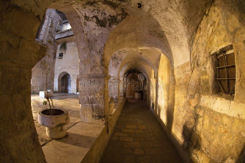 Mystieke Binnenplaats bij nacht in Jeruzalem. royalty-vrije stock foto's