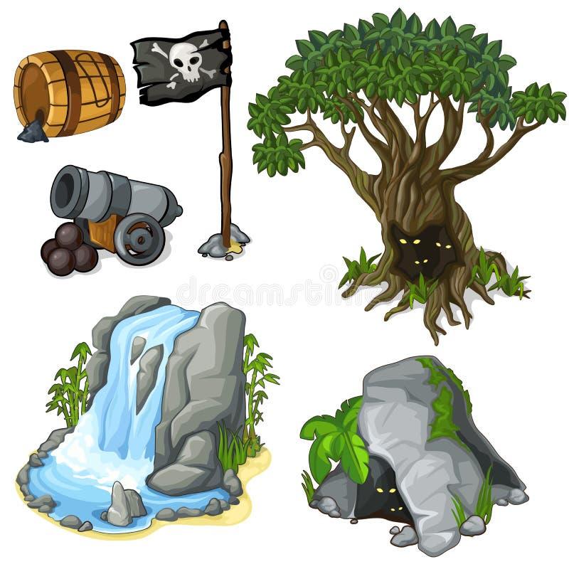 Mystieke boom, hol, waterval en piraatsymbolen stock illustratie
