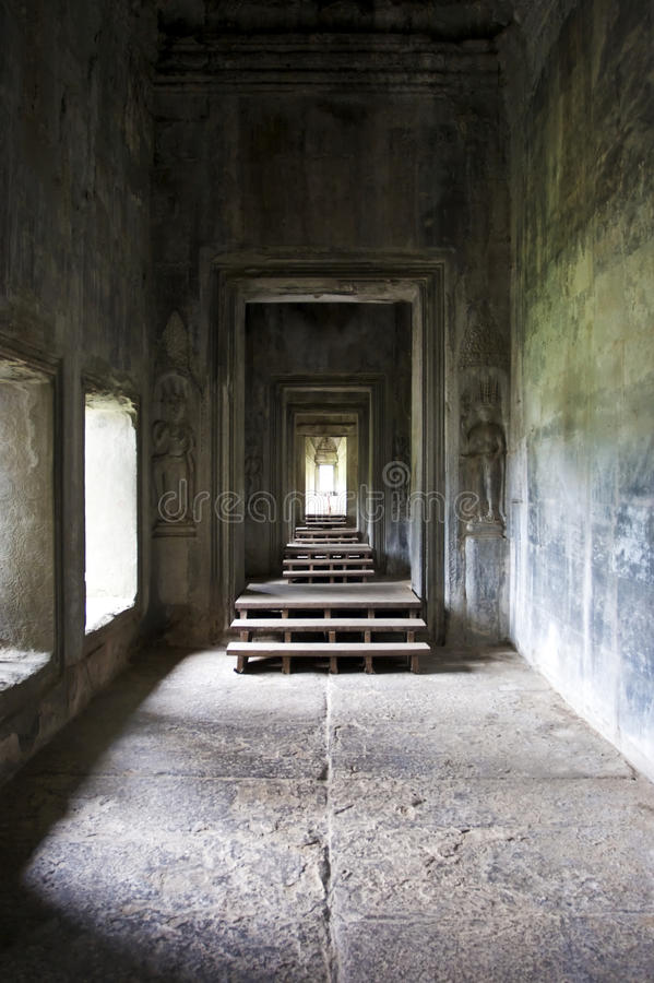Mystieke lege ruimte in Angkor Wat stock foto
