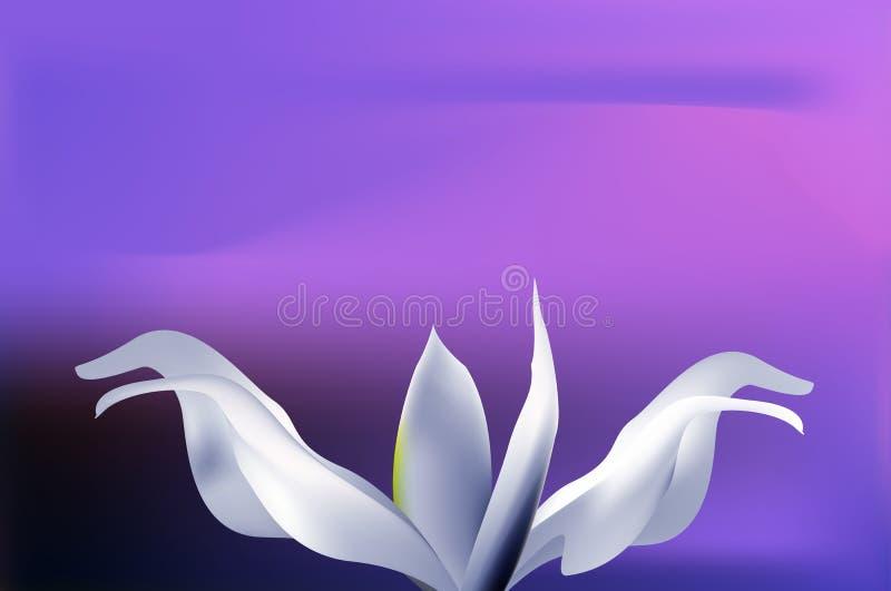 Mystieke lichtblauwe bloem op zonsonderganghemel vector illustratie
