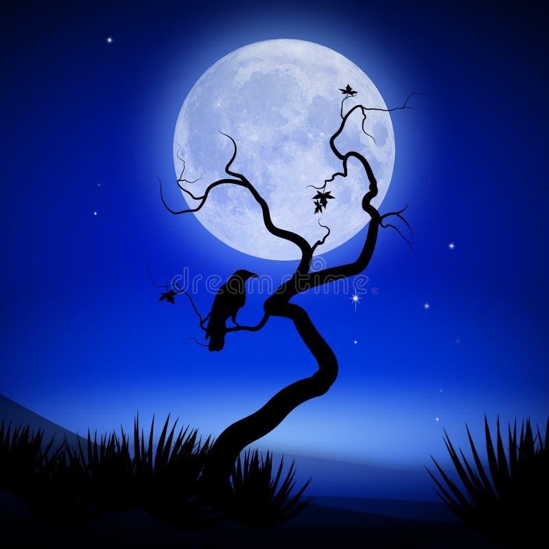 Mystieke nacht met volle maan, boom en raaf vector illustratie