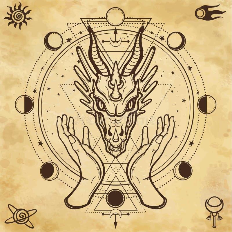 Mystieke tekening: de menselijke handen houden het hoofd van een draak vector illustratie