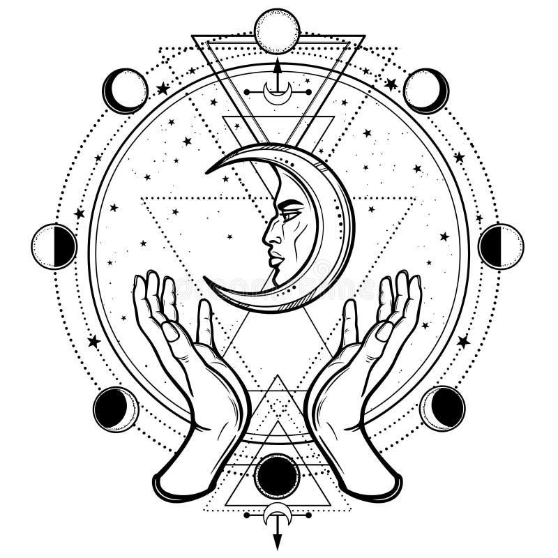 Mystieke tekening: de menselijke handen houden de maan Heilige Meetkunde vector illustratie