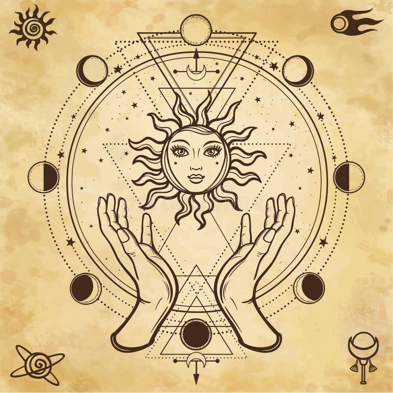 Mystieke tekening: de menselijke handen houden de zon Cirkel van een fase van de maan vector illustratie