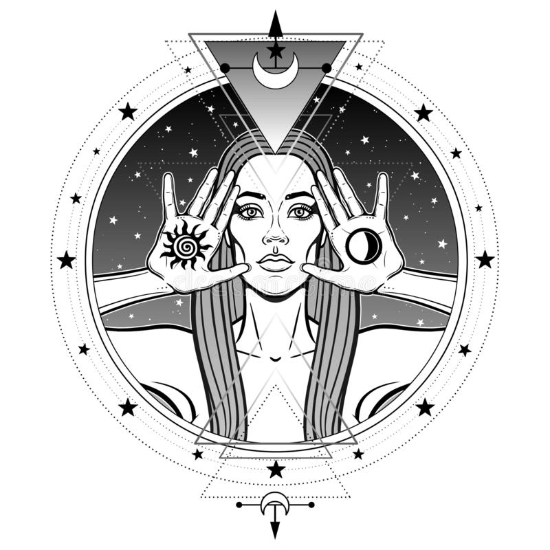 Mystieke tekening: de mooie vrouw houdt symbolen van in hand zon en maan stock illustratie